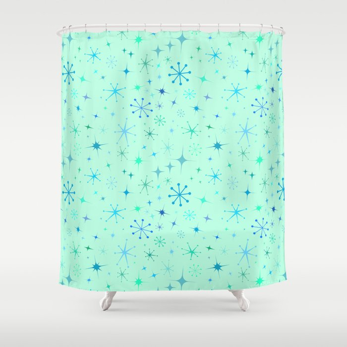 Atomic Starry Night In Mod Mint Shower Curtain