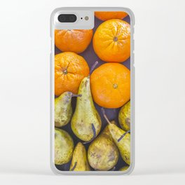 Pattern of oranges and pears Clear iPhone Case