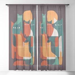 Cat Family Sheer Curtain