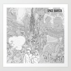 Space Barista Night Market Art Print