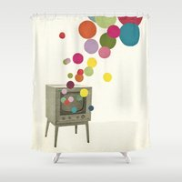 tv Shower Curtains featuring Colour Television by Cassia Beck