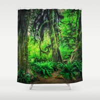 giants Shower Curtains featuring Mossy Giants by JMcCool