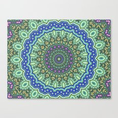 Lovely Healing Mandala  in Brilliant Colors: Purple, Black, Gold, Mint, and Sunset Yellow Canvas Print