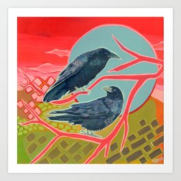Crows in the evening Art Print