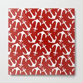 Maritime Nautical Red and White Anchor Pattern - Anchors Metal Print