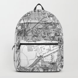 Vintage Map of Bruges (1905) BW Backpack