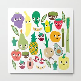Fruit And Veggie Madness Metal Print