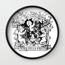 Antique Cherub Bookplate Illustration Wall Clock