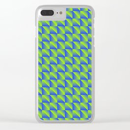 Pattern of green squares and blue triangles in a zigzag. Clear iPhone Case