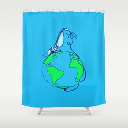 Help (blue) Shower Curtain