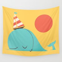 hat Wall Tapestries featuring Party Hat by Jay Fleck