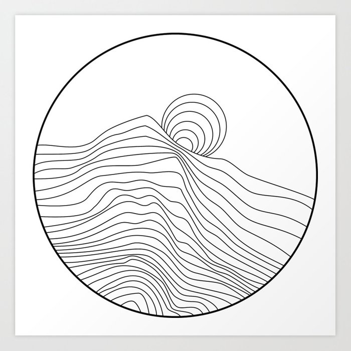 Curvy Line Black And White Mountain Sunset Graphic Art Print Art Print By Maximdesigns Society6