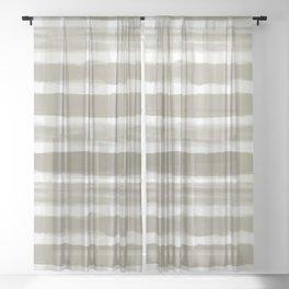 Watercolor Brushstroke Plaid Pattern Pantone Martini Olive Green 18-0625 Sheer Curtain