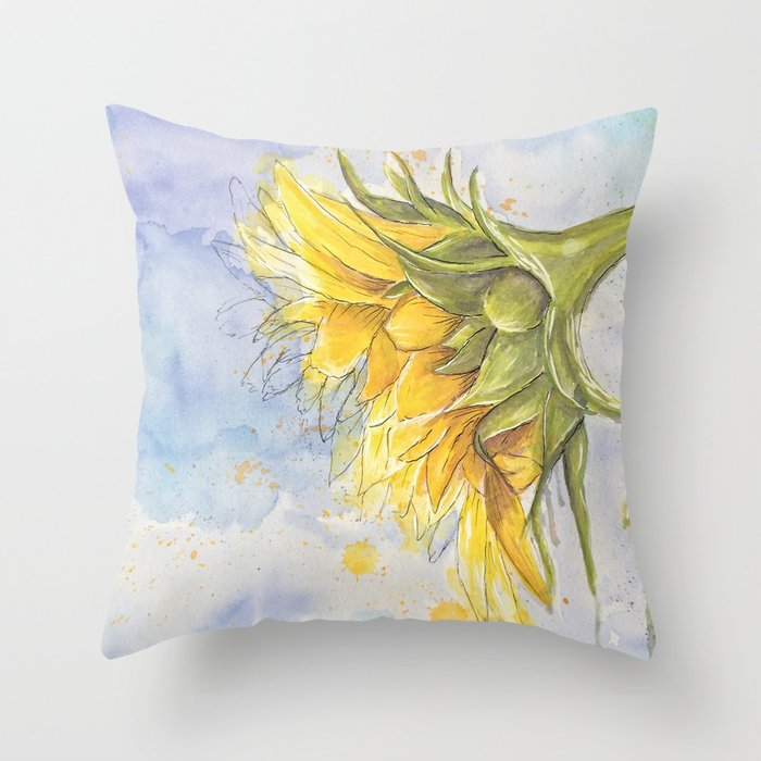 Helianthus annuus: Sunflower Abstraction Throw Pillow