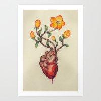 THIS BLEEDING BLOSSOMING HEART: ORANGE WILD ROSE Art Print