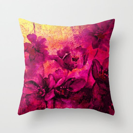 floral in deep pink and yellow Throw Pillow by Clemm Society6