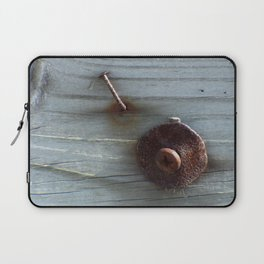 Rusty Nail, Washer and Screw in Wood Laptop Sleeve