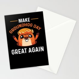 Make Groundhog Day Great Again Woodchuck Election Stationery Cards