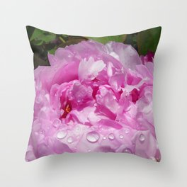 Pink Peony with Rain Drops Throw Pillow