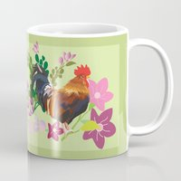 rooster Mugs featuring rooster by Caracheng