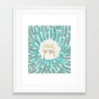 calligraphy Framed Art Prints featuring Treat Yo Self – Gold & Turquoise by Cat Coquillette