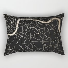 London Black on Gold Street Map II Rectangular Pillow