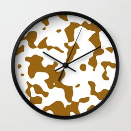 Large Spots - White and Golden Brown Wall Clock