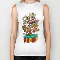 tiki Biker Tanks featuring Tiki Island by Doctor Juanpa