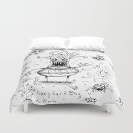 Happy Squid Boy and Friends sketch Duvet Cover