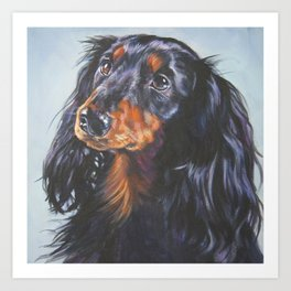 long haired Dachshund art portrait from an original painting by L.A.Shepard Art Print