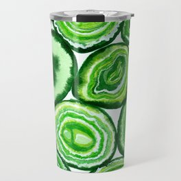 Green agate pattern watercolor Travel Mug