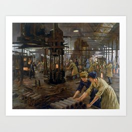 'The Munitions Girls' oil painting, England, 1918 Art Print