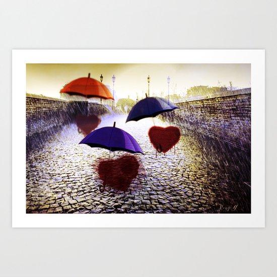 Three Lonely Hearts In the Rain Art Print
