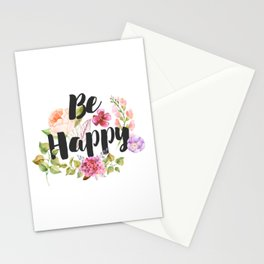 Be happy Inspirational Quote Stationery Cards