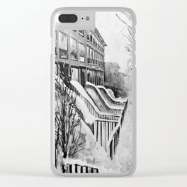 Brooklyn New York in Snow Storm Black and White Clear iPhone Case