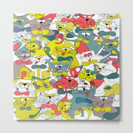 Funny doodle colorful cats.Seamless pattern Metal Print