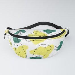 Modern Artsy Yellow Green Watercolor Abstract Pineapples Fanny Pack