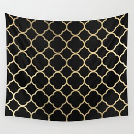 Elegant geometrical black faux gold quatrefoil Wall Tapestry