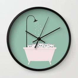 5 Little White Kittens in Bathtub Wall Clock