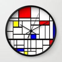 mondrian Wall Clocks featuring Mondrian inspired by Steve W Schwartz Art