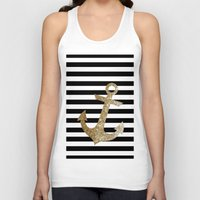 gold glitter Tank Tops featuring GOLD GLITTER ANCHOR IN BLACK AND NUDE by colorstudio