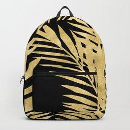 Palm Leaves Golden On Black Backpack
