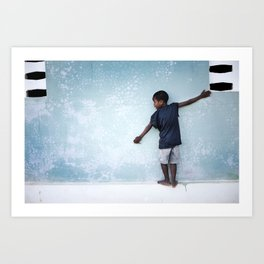 The Orphan and the Blue Wall Art Print