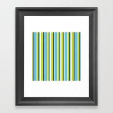 Fun Stripes blue green Framed Art Print