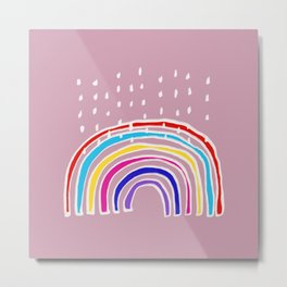 Rainbow and Rain in Pink Metal Print
