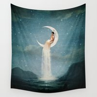 belle Wall Tapestries featuring Moon River Lady by Paula Belle Flores
