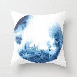 Watercolor Circle Abstract Simple | Blue Blob May 24 Throw Pillow