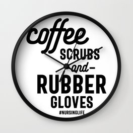 Coffee Scrubs and Rubber Gloves Funny Wall Clock