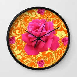 PINK ORANGE  ROSE SCROLLS GARDEN ART PATTERN Wall Clock