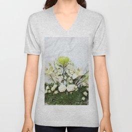Green and Cream Flowers Unisex V-Neck